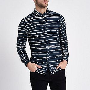 Only & Sons - Marineblauw gestreept overhemd met lange mouwen