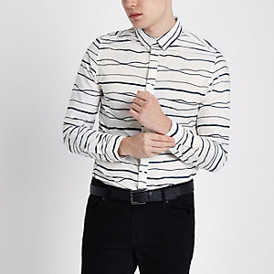 Only & Sons white stripe print Oxford shirt