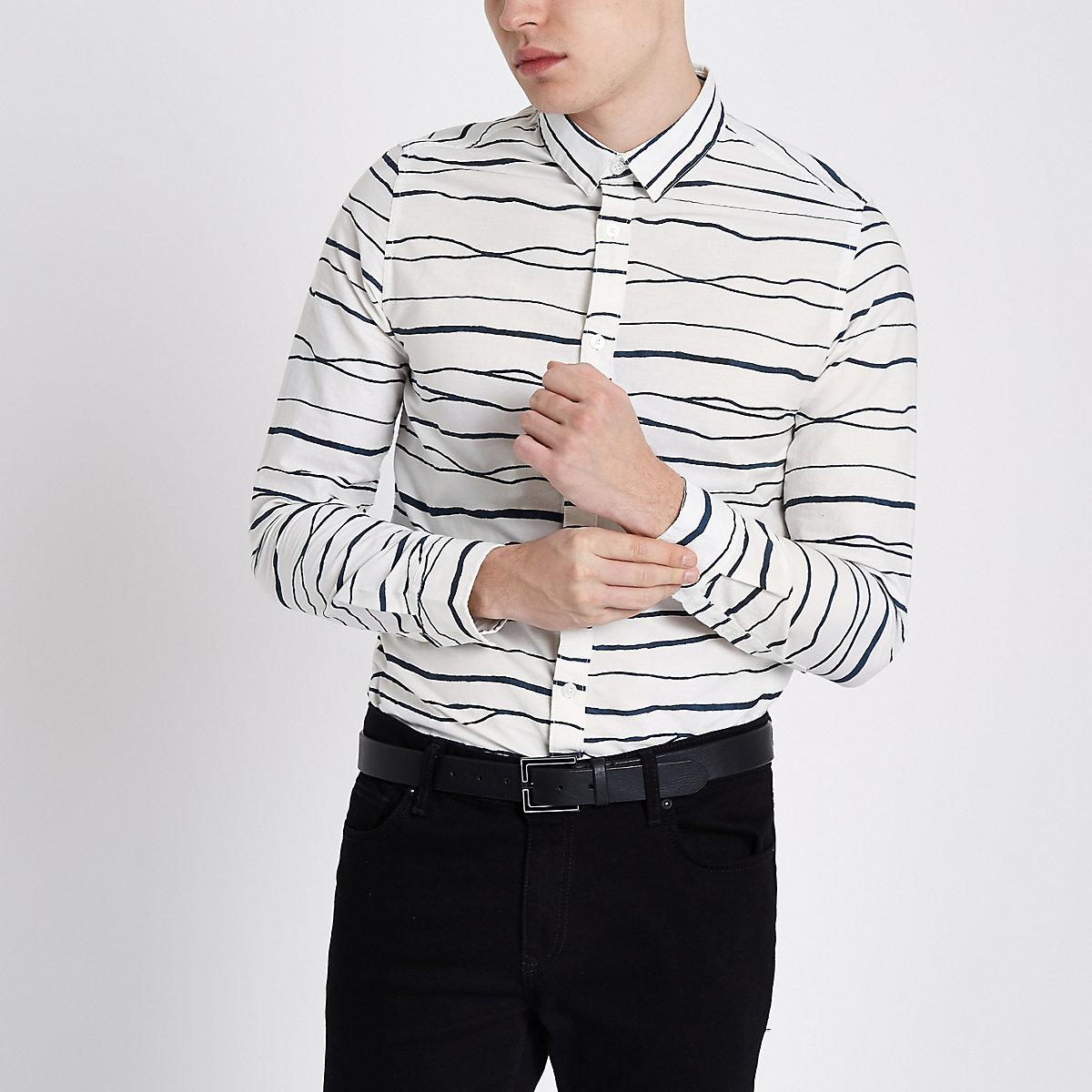 Only & Sons white stripe print Oxford shirt