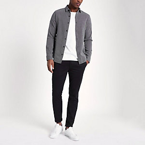 Only & Sons grey jacquard long sleeve shirt