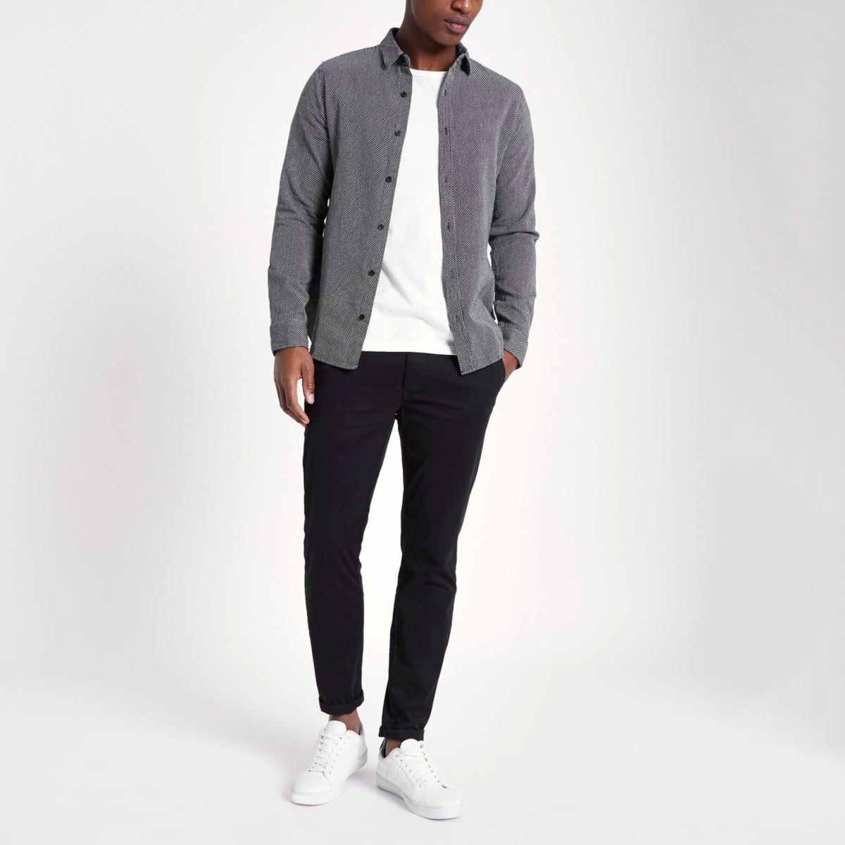 Only & Sons grey jacquard long sleeve shirt