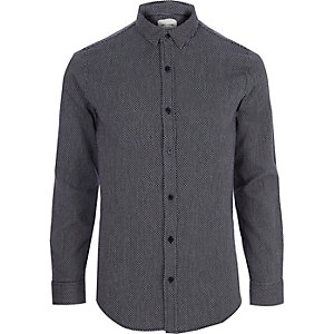 Only & Sons – Marineblaues, langärmeliges Hemd mit Jacquard-Muster
