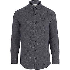 Only & Sons - Marineblauw jacquard overhemd met lange mouwen