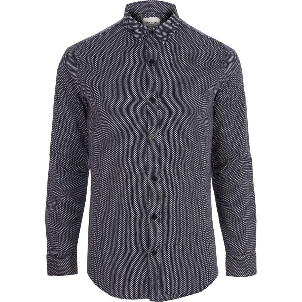 Only & Sons navy jacquard long sleeve shirt