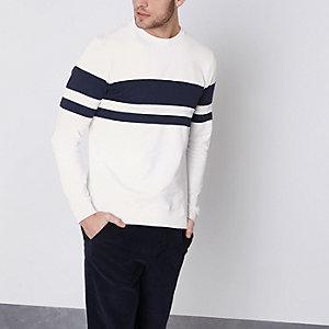 Only & Sons - Wit gestreept T-shirt met lange mouwen