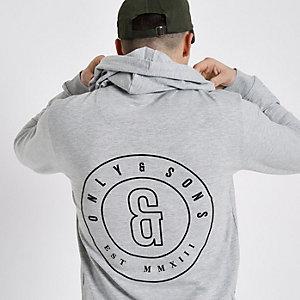 Only & Sons – Sweat à capuche  gris avec logo imprimé