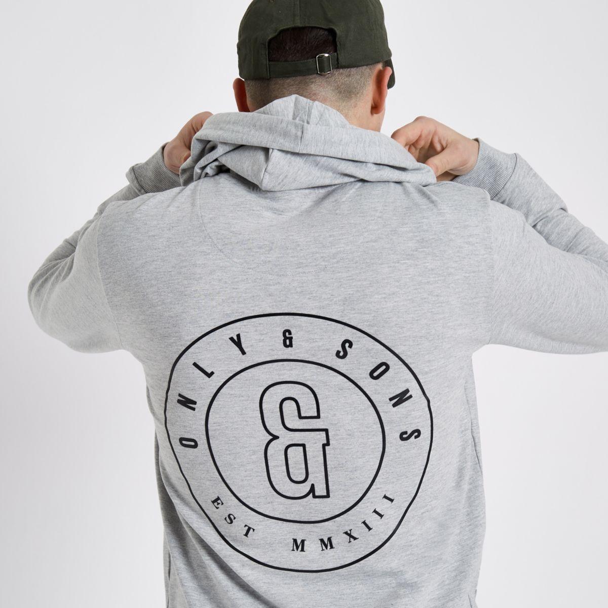 Only & Sons grey logo print hoodie