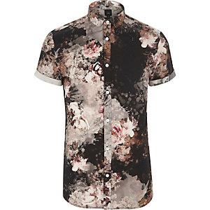 Black floral print slim fit shirt