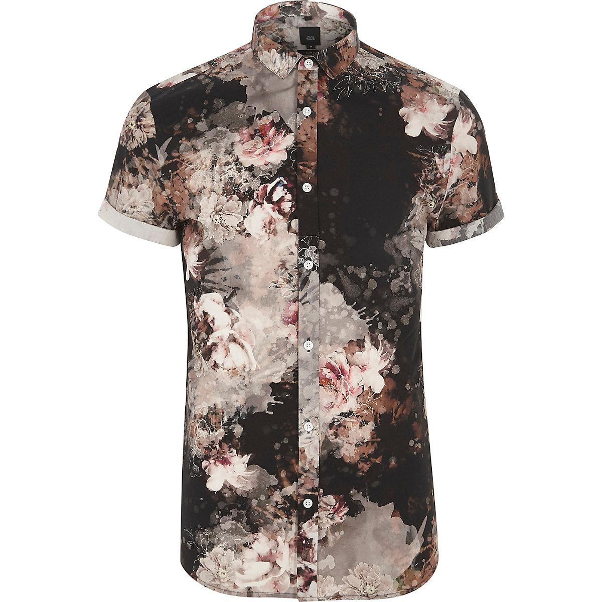 Slim Fit Hemd mit Blumenmuster