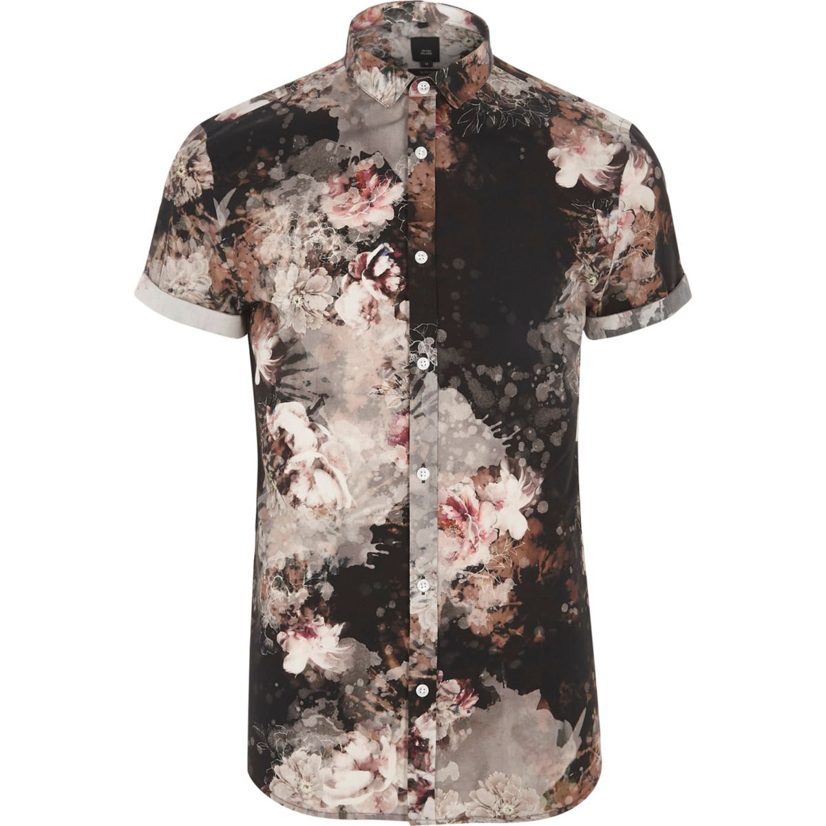 Black floral print slim fit shirt shirts sale men for Black floral print shirt