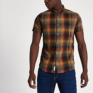 Orange check casual short sleeve shirt
