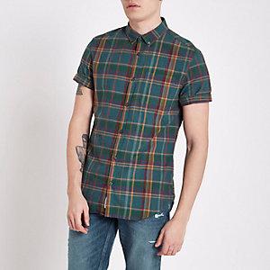 Chemise à carreaux bleu sarcelle et manches courtes