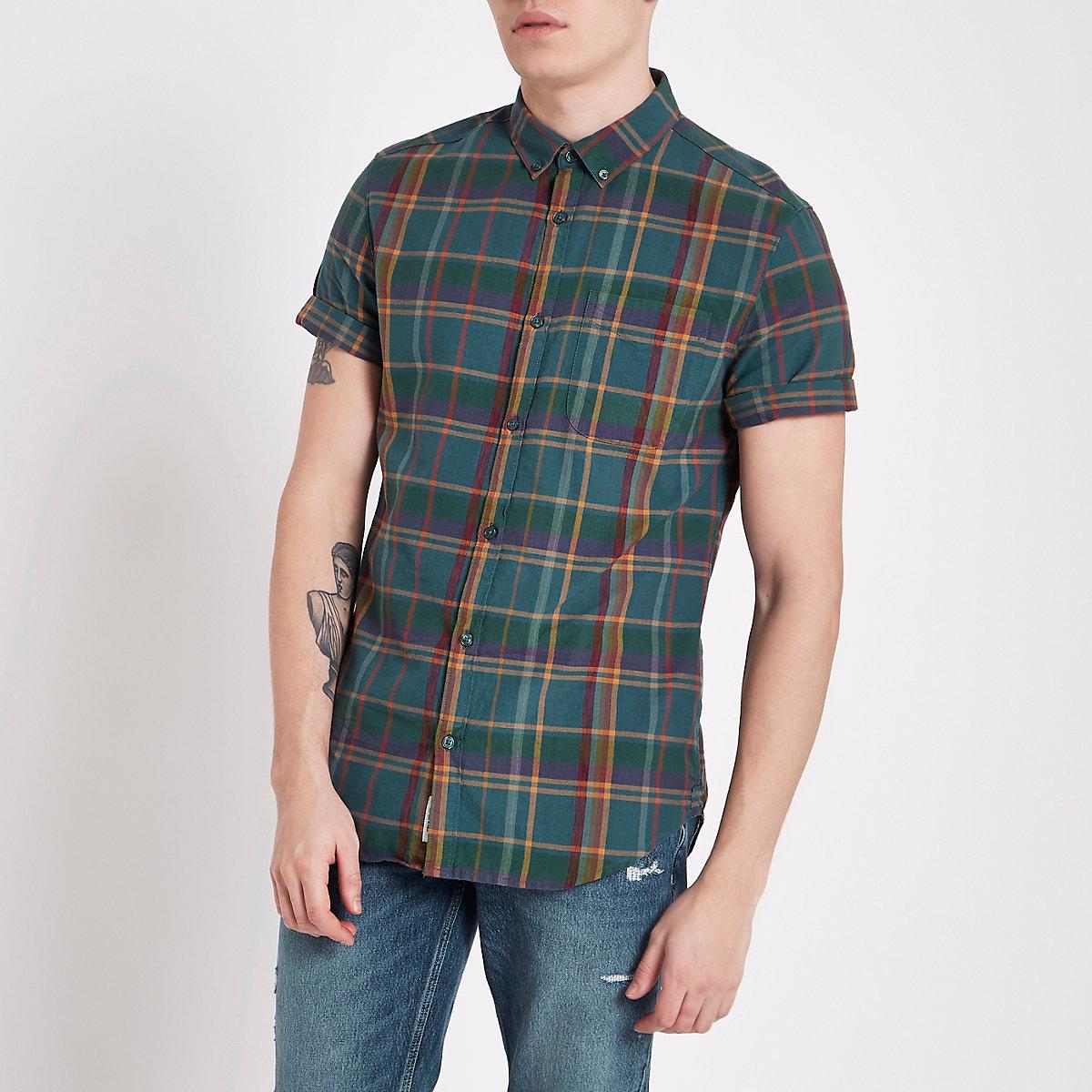 Teal green check short sleeve shirt