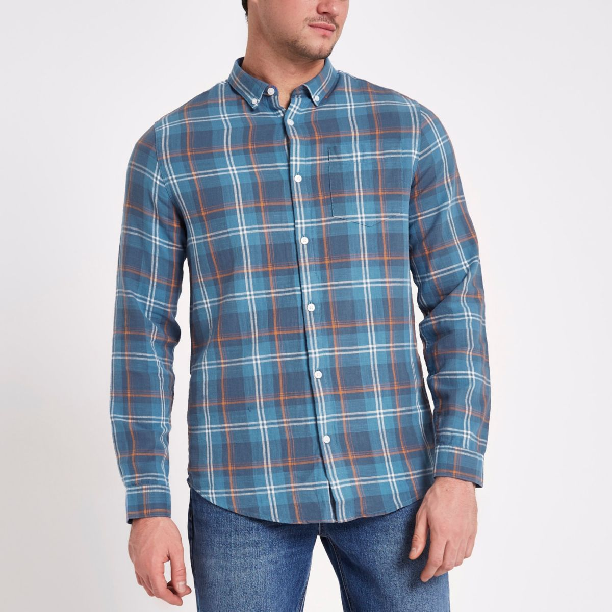 Blue check button-down shirt