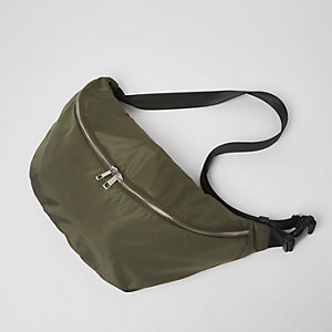 Khaki green nylon sling bag