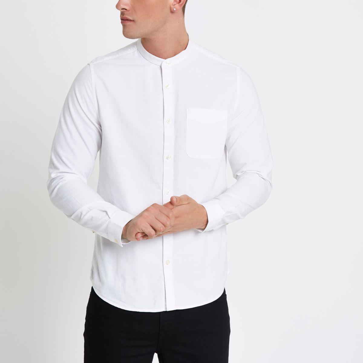 Chemise Oxford blanche à manches longues à col officier