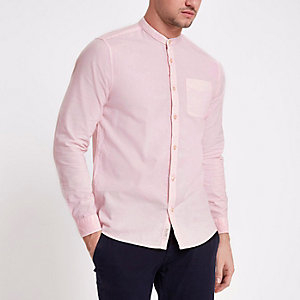 Pink acid wash long sleeve shirt