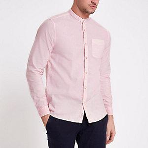Chemise rose à manches longues délavée à l'acide