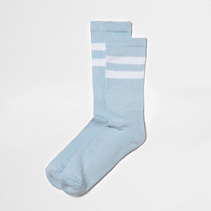 Chaussettes tubes rayées bleues