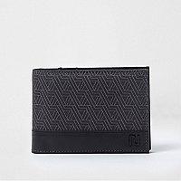 Portefeuille à rabat imprimé géométrique noir