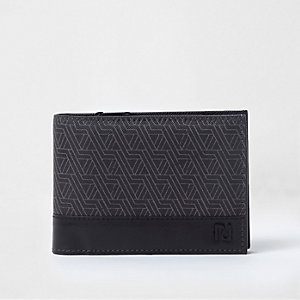 Black geo print fold out wallet