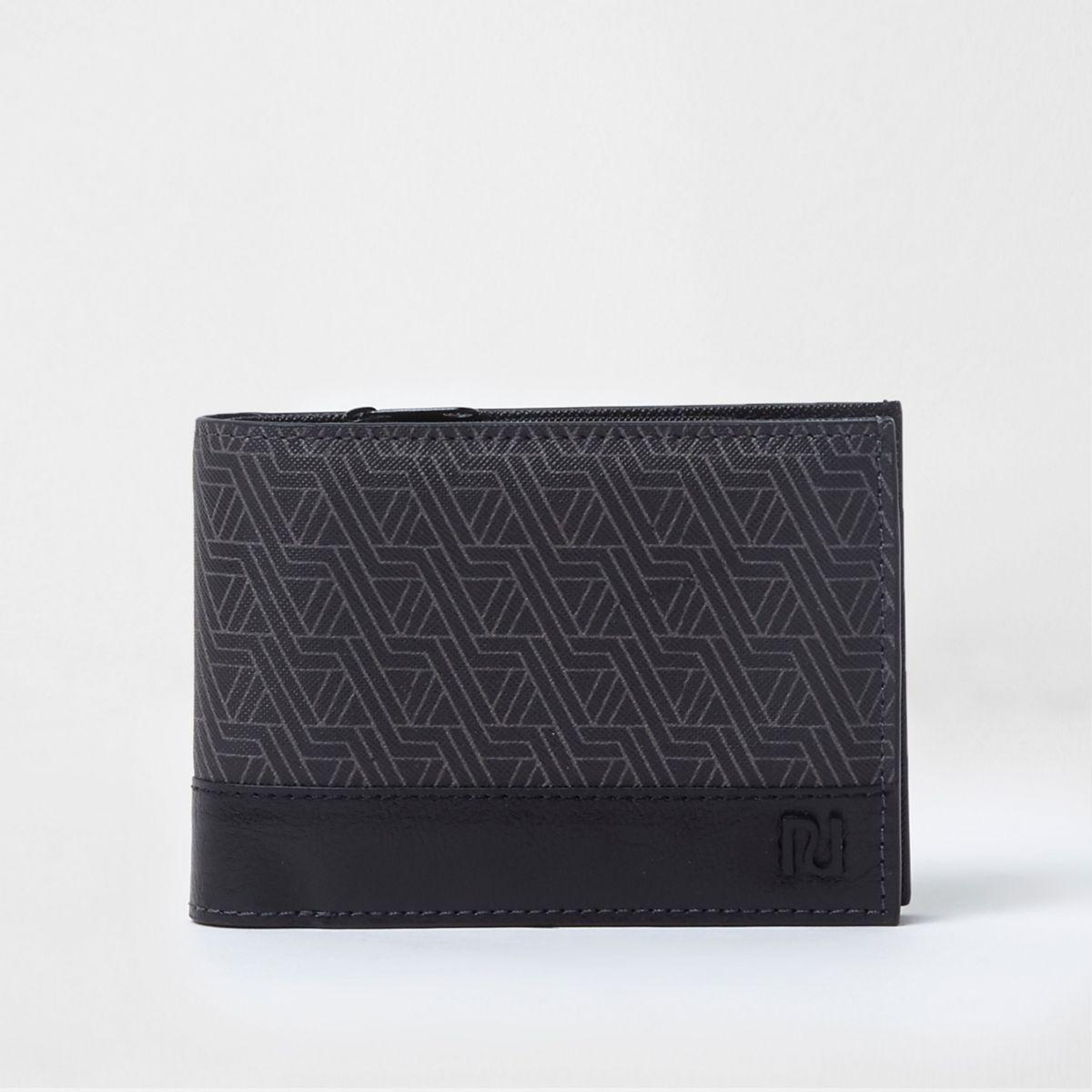 Zwarte portemonnee met grafische print