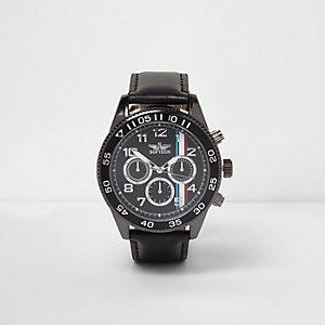 Schwarze Armbanduhr aus Kunstleder
