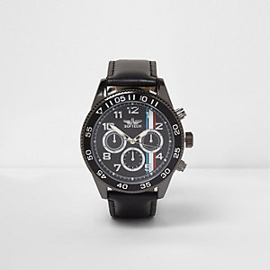 Black faux leather stripe face bezel watch