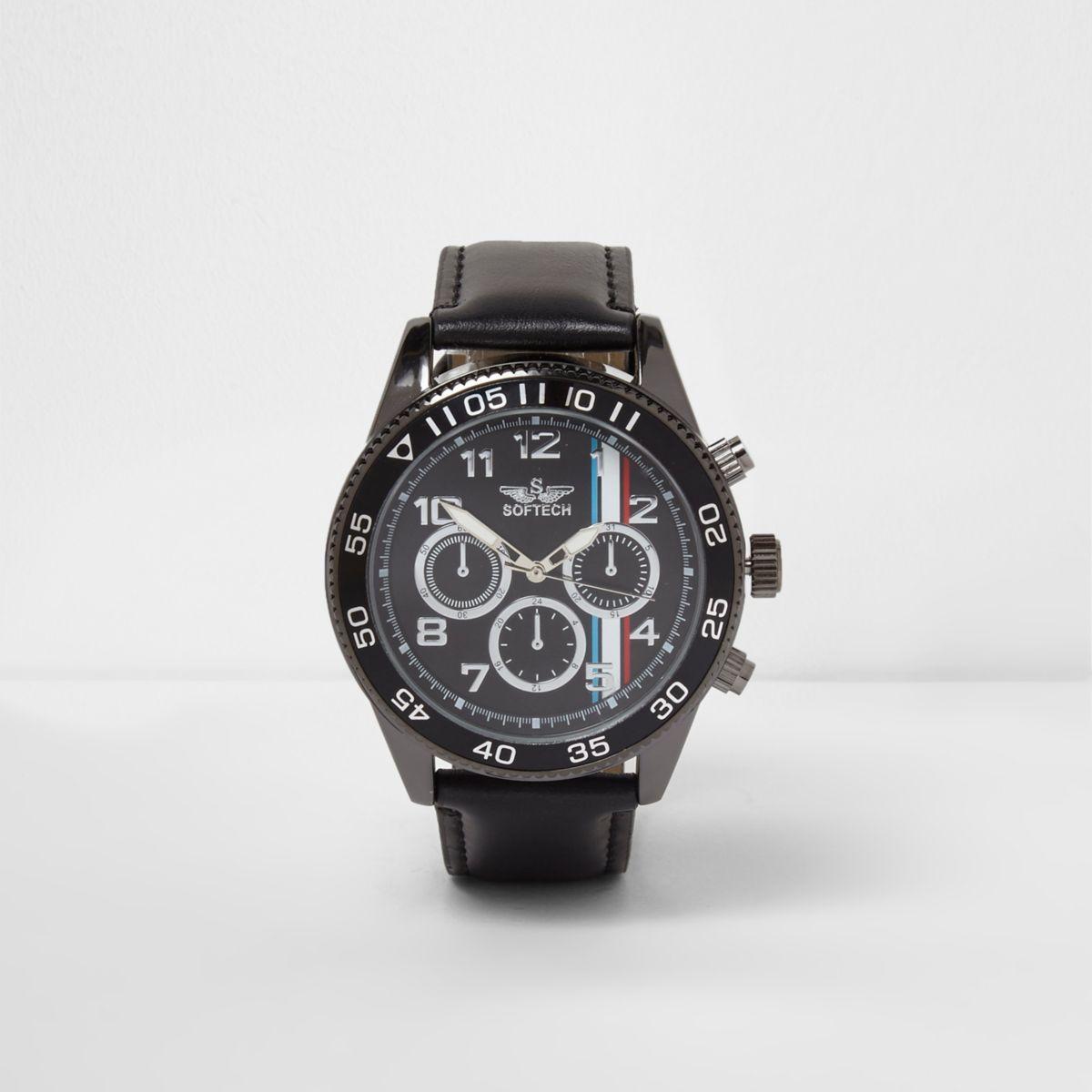 Zwart horloge met ring om de wijzerplaat en bandje van imitatieleer