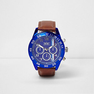 Tan and blue round watch