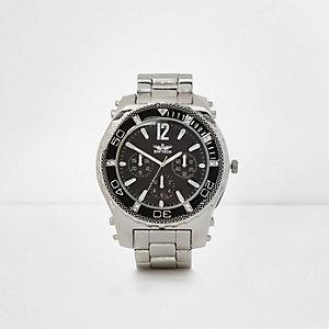 Silver tone chain link bezel watch