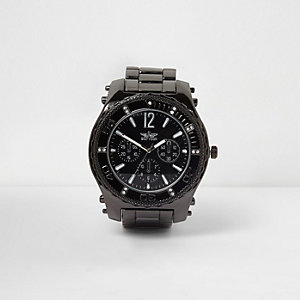 Grey gunmetal tone chain link bezel watch