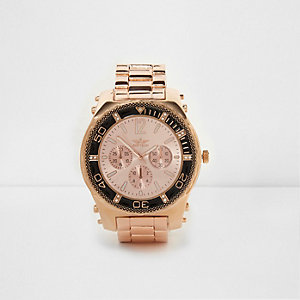 Rose gold tone chain link bezel watch