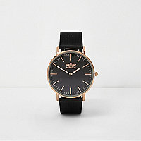 Black and rose gold tone mesh strap watch