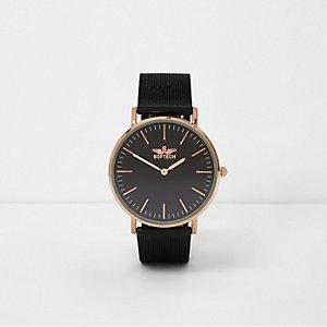 Armbanduhr in Schwarz und Roségold