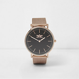 Rose gold tone mesh strap flat face watch