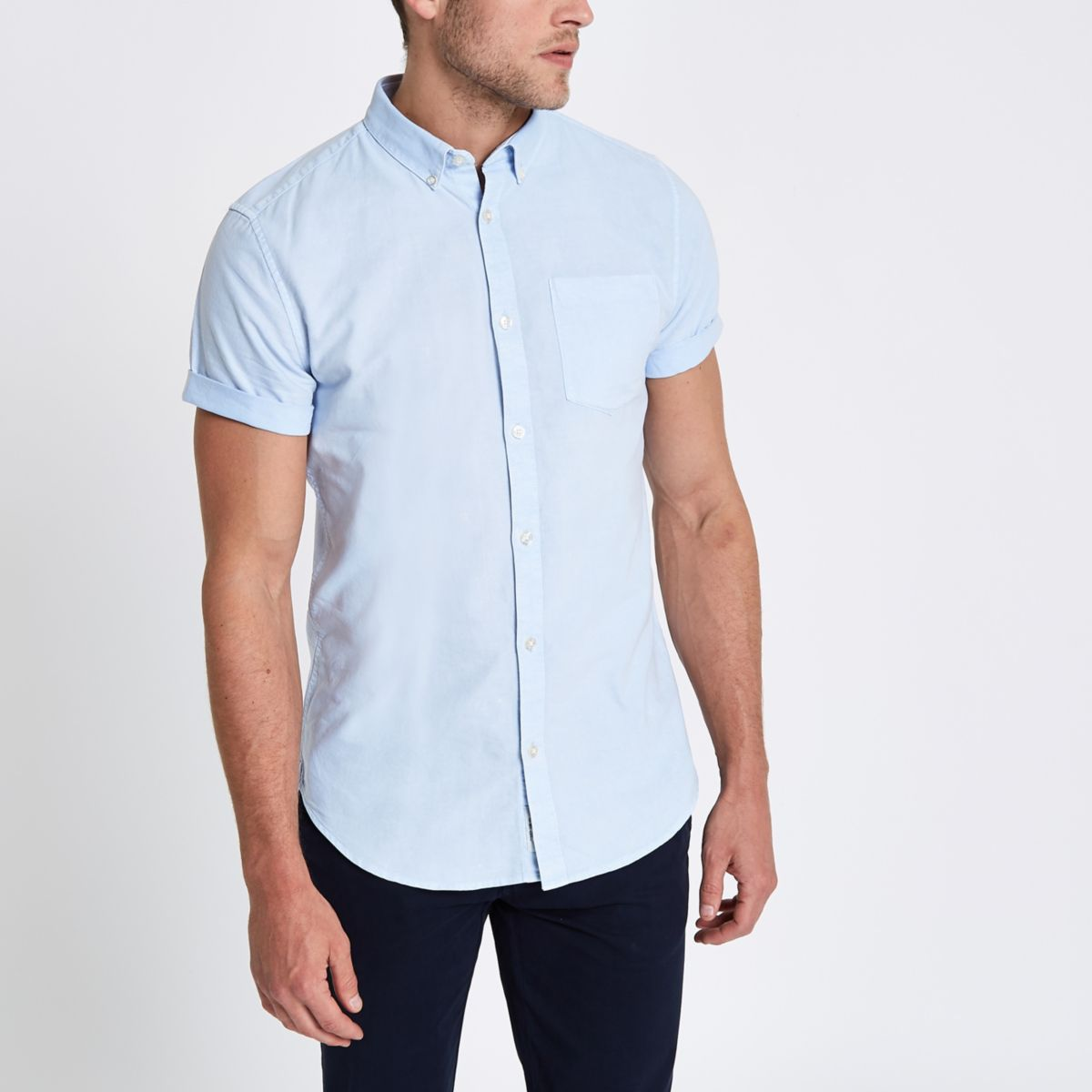 Light blue acid wash slim fit shirt