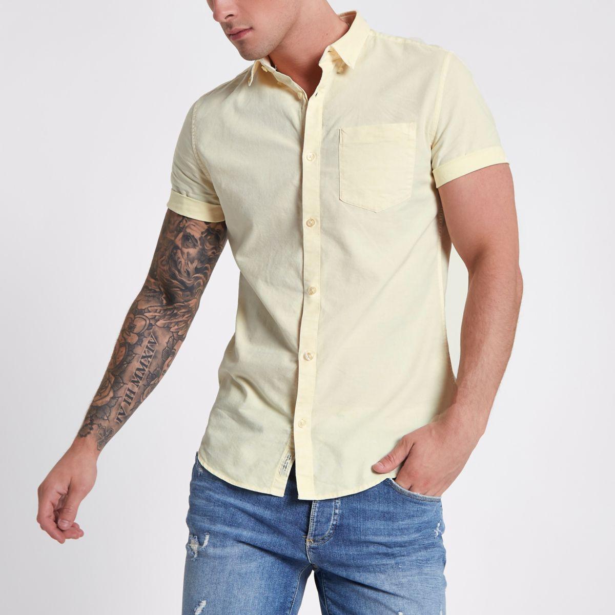 Yellow acid wash slim fit short sleeve shirt