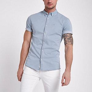 Lichtblauw aansluitend denim overhemd met wespenprint