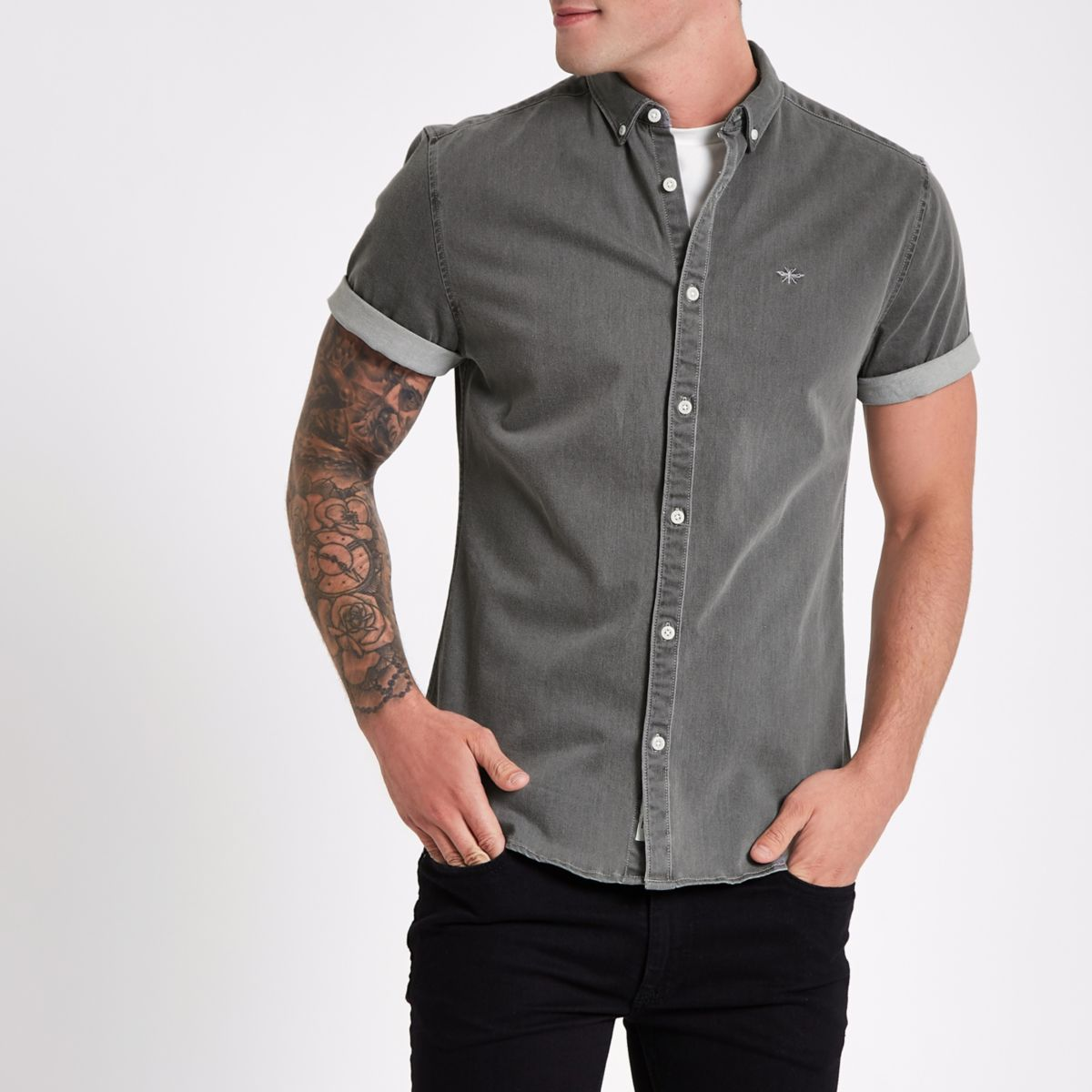 Grey wasp muscle fit denim shirt
