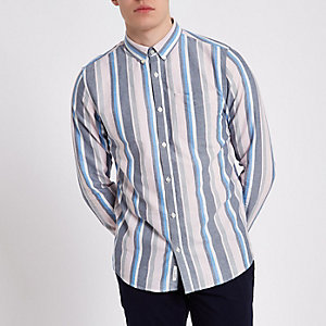 Pink stripe long sleeve button-down shirt