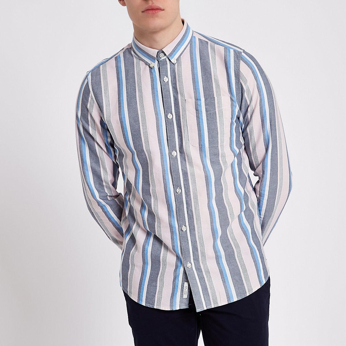 Pink stripe long sleeve button-down shirt