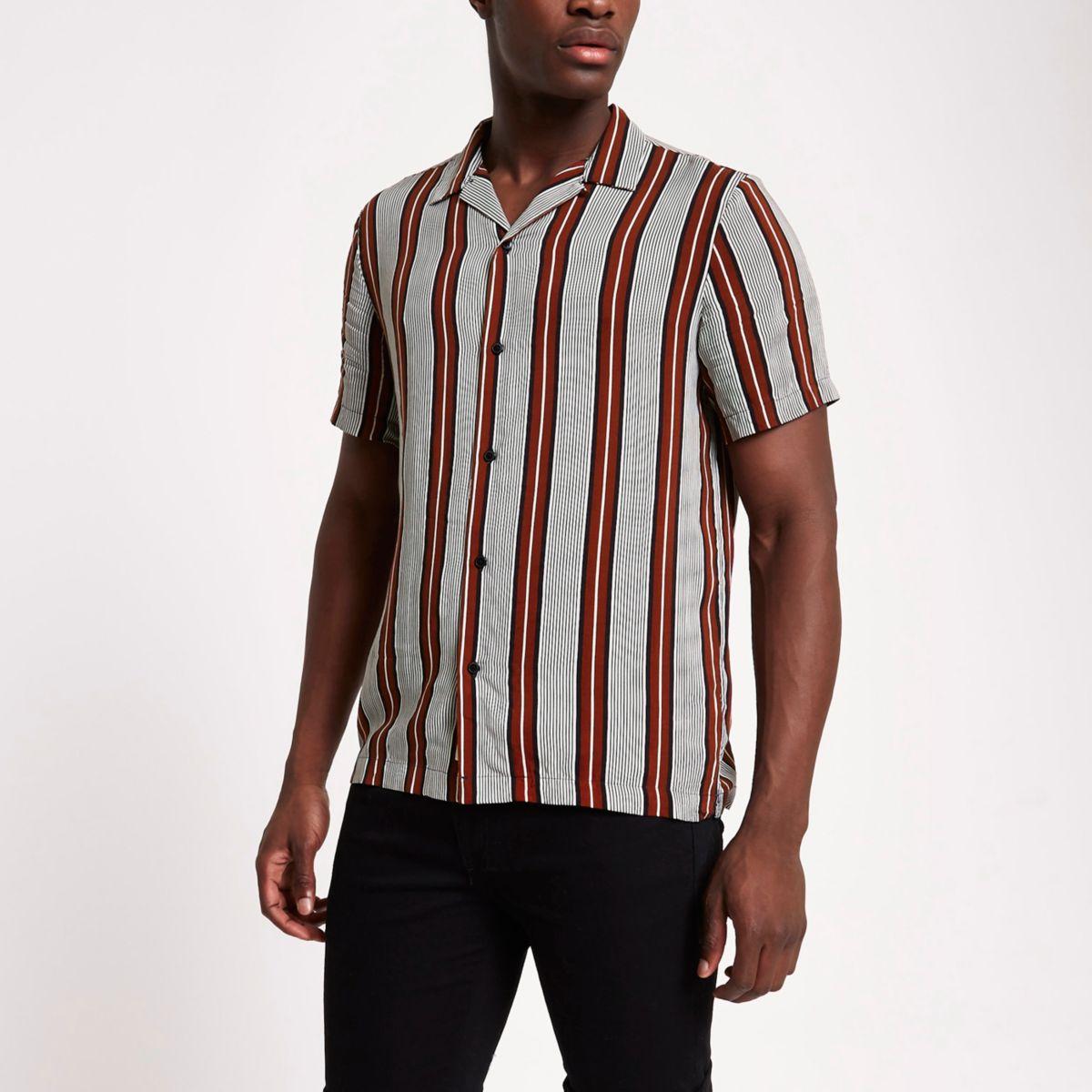 Red stripe short sleeve revere shirt