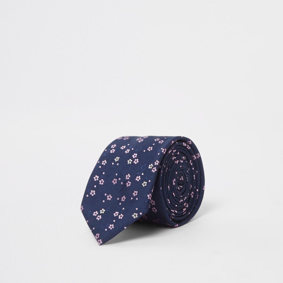 Navy ditsy floral tie
