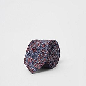 Cravate à fleurs et feuilles bleu marine