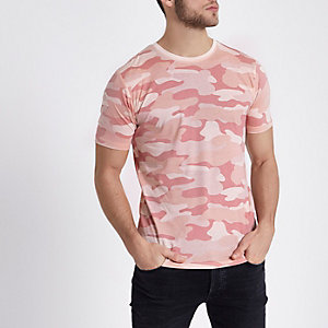 Only & Sons – Pinkes T-Shirt mit Camouflage-Muster