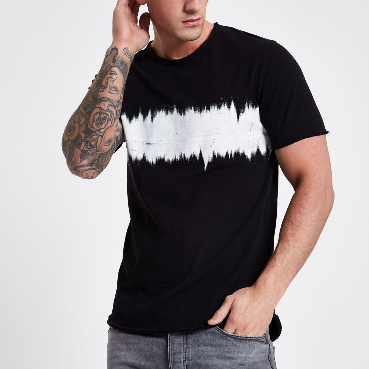 Only & Sons Black Printed T Shirt by River Island