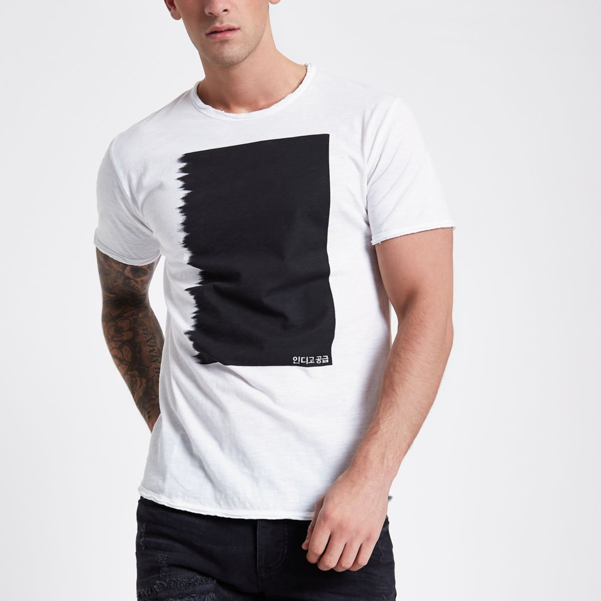 Only & Sons white contrast print T-shirt