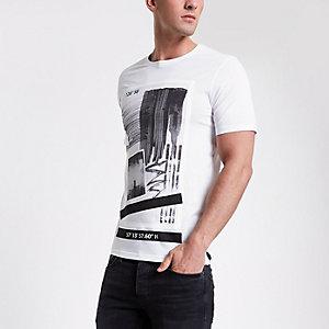 Only & Sons – Weißes, bedrucktes T-Shirt