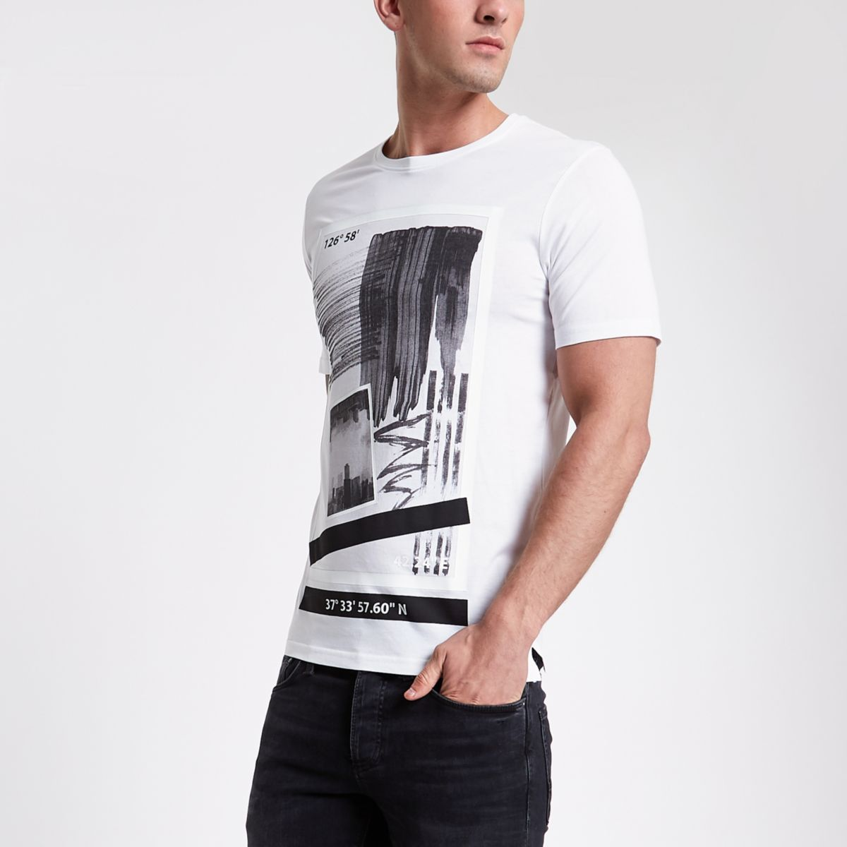 Only & Sons white printed T-shirt